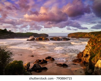 view of the sunset on the beach, Atlantic coast of Spain, Cantabria