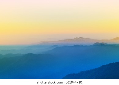 view of sunset on mountain