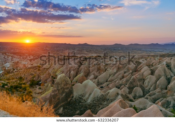 View of Sunset over Red valley in Cappadocia. Nevsehir Province. Turkey