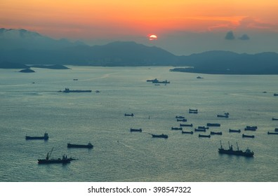 View of sunset over South China sea from 100 floor of ICC building in Hong Kong.