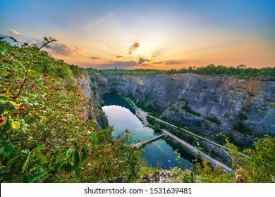 "view of sunset over ""Velka Amerika"" (Grand America) quarry. Czech Republic, Europe."