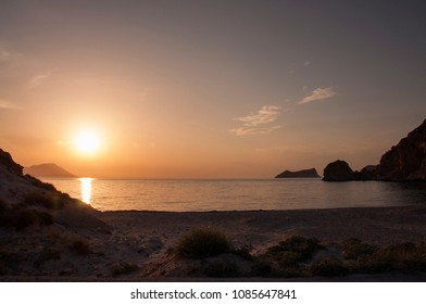 View at sunset from Plathiena beach at Milos island in Greece