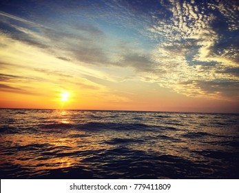 View of sunset seascape in the middle of the ocean
