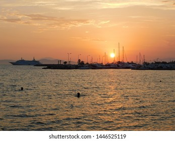 View of the sunset from the shore of Glyfada, Greece
