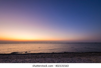 view  sunset and sky twilight color at seaside ,chonburi ,Thailand