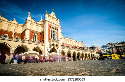 view of sunshine architecture of ancient market building in Krakow