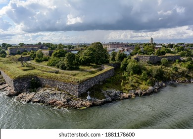 View to the Suomenlinna (Castle of Finland) prison and coastline defense walls at Iso Mustasaari (Big Black island) island of Suomenlinna fortress complex.