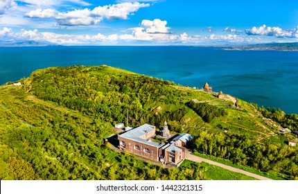 View of Surb Hakob Chapel and Sevanavank Monastery in Lake Sevan in Armenia
