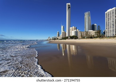 View of Surfers Paradise from beach on Queensland's Gold Coast