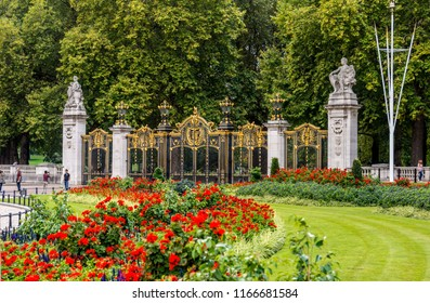 View of surrounding areas and gates at Buckingham Palace. London, England.