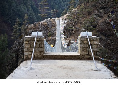 View from the suspension bridge over Dudh Koshi River on route to Namche Bazar, Khumjung, Solu Khumbu, Nepal.