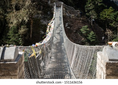 View of the suspension bridge using for crossing the river in Sagarmatha national park, Nepal. Suspension bridge like this is an iconic bridge in every trekking route in Nepal.