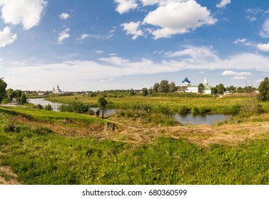 View to Suzdal kremlin and city center with Ilyin meadow