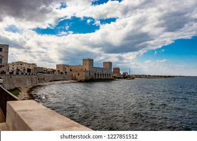 View of the Swabian castle of Trani. Stone fortress, on the sea. In Puglia, near Bari, Barletta, Andria.