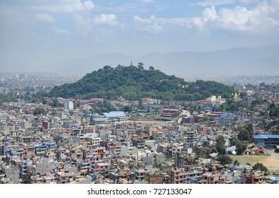 View of Swayambunath monkey temple in Kathmandu, Nepal