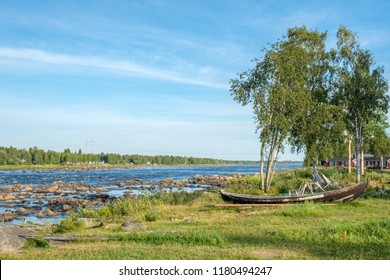 View from the Swedish side of Kukkola rapids across Torne river