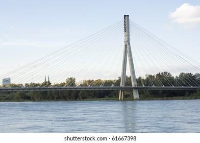 view of swietokrzyski bridge in poland