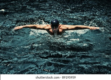 view of swimmer in swimming pool