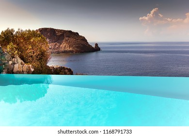 View From swimming pool with the Meditteranean  Sea with the horizon in the background.  Stock Image.