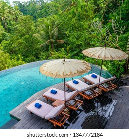 View of the swimming pool water and sunbeds in the tropical jungle in the morning near Ubud, Bali, Indonesia , top view