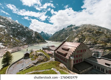 View of the Swiss Alps from Grimselpass with Hotel Grimsel Passhöhe in the front, Grimsel Pass, Switzerland.