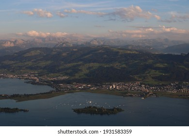 View of the Swissalps and lake of Zurich