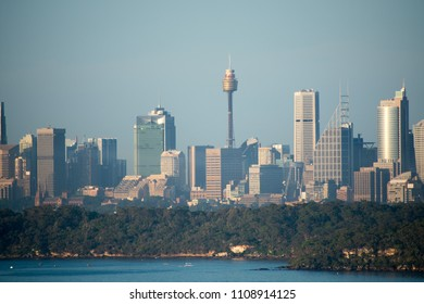 View of Sydney CBD at sunrise, from Manly lookout, Sydney, New South Wales, Australia. Editorial. Taken on Friday, 5 January 2018 05:29.