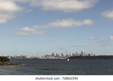 View of Sydney city centre from Watson Bay Sydney Australia