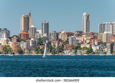 The view of Sydney City Skyline - Elizabeth bay, Sydney, Australia. Elizabeth Bay is a harbor-side suburb in eastern Sydney, in the state of New South Wales, Australia.