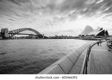 View of the Sydney Harbor and cityscape.