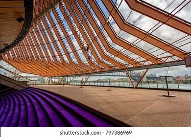 View of Sydney Harbour Bridge from inside Sydney Opera House taken in Sydney, NSW, Australia on 3 January 2018