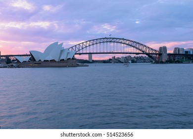 View of Sydney Opera House Sydney Australia at sunset from Mrs Macqaurie's.NOV 13,2016 The Sydney Opera House is a famous arts center. It was designed by Danish architect Jorn Utzon.