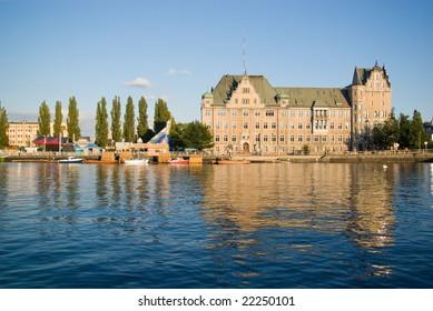 View of Szczecin port in Poland