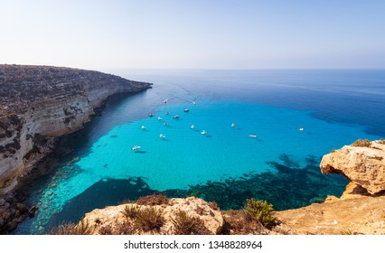 View of Tabaccara famous sea place of Lampedusa