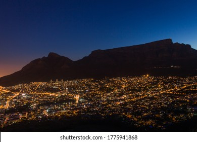 View of Table Mountain and Cape Town City at sunrise on a beautiful morning, Cape Town, South Africa