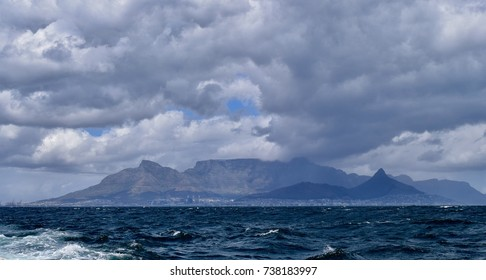 The view of Table Mountain in Cape Town, South Africa, from a boat going to Robben Island, were Nelson Mandela was in prison for 27 years.