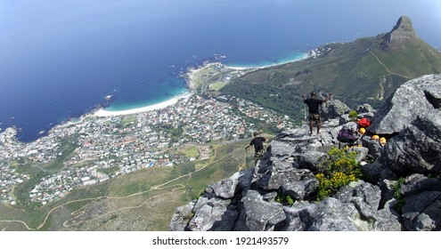 View from Table Mountain to Lions Head and Camps Bay, Cape Town, South Africa
