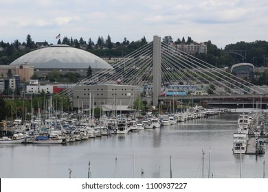 View of Tacoma Dome and 21st Street Bridge with boats in the Thea Foss Waterway, Tacoma WA