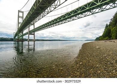view of Tacoma narrow bridge on cloudy day.Wa,usa