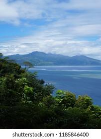 View of Tahiti eastern peninsula from Vaipahi lookout