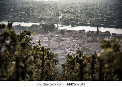 view of tain l'hermitage from the vineyards  on the top of the hill