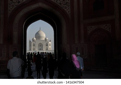 A view of Taj Mahal, Agra, India, with visitors