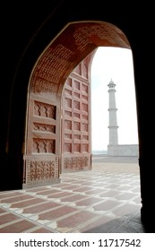 View of Taj Mahal minaret from inside Mosque, Agra, India