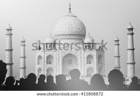 View Taj Mahal Tourist Silhouettes Concept Stock Photo Edit