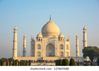 A view of the Taj Mahal, a UNESCO World Heritage Site in Agra, India. The Taj Mahal is a globally popular a symbol of love.