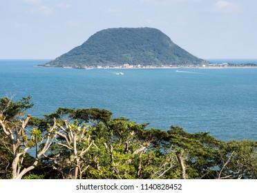 View of Takashima island in Karatsu bay from Karatsu castle hill - Karatsu city, Saga prefecture