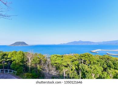 View of Takashima Island and Ocean Near Karatsu City