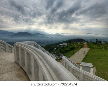 The view taken from a Japanese Peace Pagoda on top of a high mountain in Pokhara, Nepal, Asia.