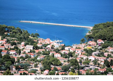 view taken from a mountain, Rovenska, island Losinj, Croatia
