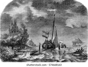 View taken in Zealand, storm effect, vintage engraved illustration. Magasin Pittoresque 1845.